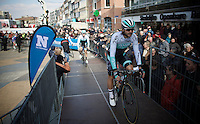 Martin Mortensen (DNK/ONE) to the sign-in podium<br /> <br /> 71st Nokere Koerse
