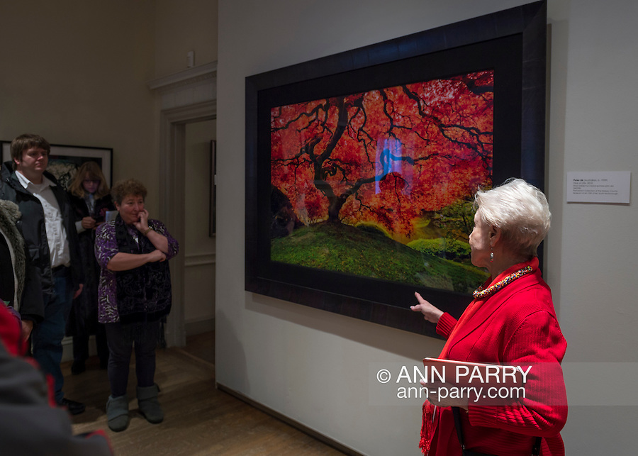 Roslyn Harbor, New York, USA, January 2, 2017. Docent MAXINE HERSH (in red top) leads visitors on tour of Nassau County Museum of Art photography exhibitions covering over 100 years of photography.