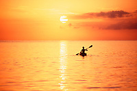 kayaker at sunset, Glover's Reef Atoll, SW Cay, Belize, Caribbean, Atlantic, Caribbean, Atlantic