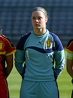 20140410 - BRUSSELS , BELGIUM : Belgian Diede Lemey pictured during the female soccer match between BELGIUM U19 and GERMANY U19 , in the third and final game of the Elite round in group 4 in the UEFA European Women's Under 19 competition 2014 in the Koning Boudewijn Stadion , Thursday 10 April 2014 in Brussels . PHOTO DAVID CATRY