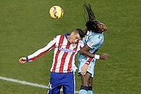 Atletico de Madrid's Jose Maria Gimenez (l) and Rayo Vallecano's Manucho during La Liga match.January 24,2015. (ALTERPHOTOS/Acero) /NortePhoto<br /> NortePhoto.com