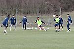 In blau v.l. Hoffenheims Kasim Adams Nuhu (Nr.15), Hoffenheims Ishak Belfodil (Nr.19), Hoffenheims Andrej Kramaric (Nr.27) und Hoffenheims Nadiem Amiri (Nr.18) gegen Hoffenheims Kerem Demirbay (Nr.10) und Hoffenheims Reiss Nelson (Nr.9)  beim Training in der Bundesliga der TSG 1899 Hoffenheim.<br /> <br /> Foto &copy; PIX-Sportfotos *** Foto ist honorarpflichtig! *** Auf Anfrage in hoeherer Qualitaet/Aufloesung. Belegexemplar erbeten. Veroeffentlichung ausschliesslich fuer journalistisch-publizistische Zwecke. For editorial use only.