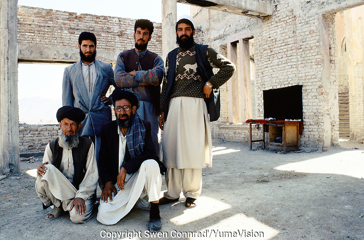 The National Museum team in 1999, doing a photographic archive of the remind collection at the second floor of the museum..Under the Taleban government in 1996-2001, the National Museum star to be rebuild. Kabul, Afghanistan.