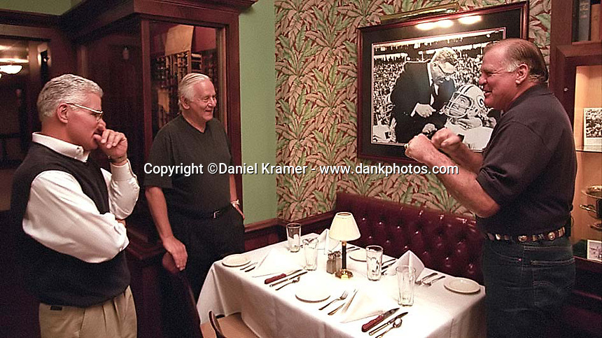 Former Green Bay Packers guard Jerry Kramer relives an encounter with Vince Lombardi with Vince Lombardi's son, also named Vince Lombardi, and Dick Schaap prior to a reunion of Lombardi's players at the Lombardi Steakhouse in Appleton, Wisconsin in September of 2001.
