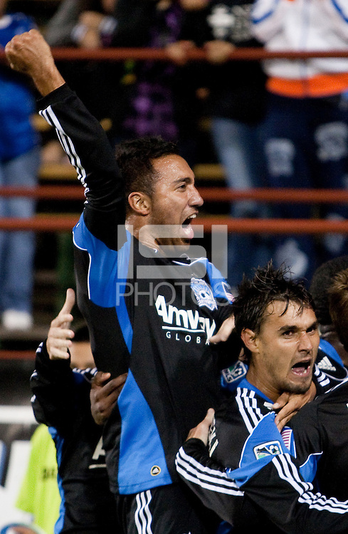 Arturo Alvarez (left) celebrates with Chris Wondolowski (center) and Chris Leitch (right) after Wondolowski's goal. The San Jose Earthquakes defeated the Philadelphia Unioin 1-0 at Buck Shaw Stadium in Santa Clara, California on September 15th, 2010.