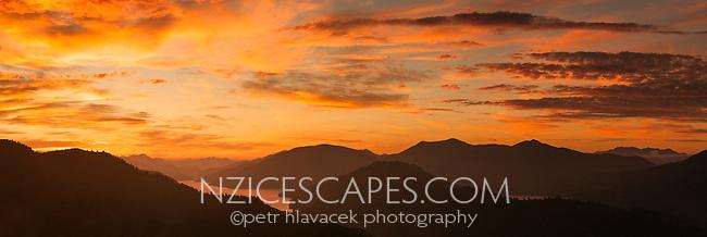 Sunset over Kenepuru Sounds, Marlborough Sounds, Nelson Region, New Zealand, NZ