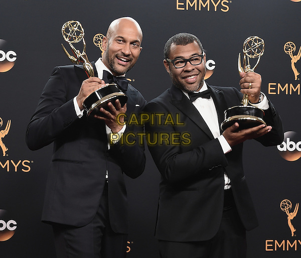 LOS ANGELES, CA - SEPTEMBER 18:  Keegan-Michael Key and Jordan Peele in the press room at the 68th Emmy Awards at the Microsoft Theater on Sunday, September 18, 2016, in Los Angeles, California. <br /> CAP/MPI99<br /> &copy;MPI99/Capital Pictures