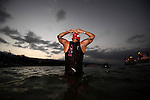 KONA-KAILUA, HI - OCTOBER 11:  Rachel Joyce of Great Britain prepares to begin the 2.4-mile Waikiki Roughwater Swim at the 2014 IRONMAN Triathlon World Championships presented by GoPro on October 11, 2014 in Kailua-Kona, Hawaii. (Photo by Donald Miralle) *** Local Caption ***