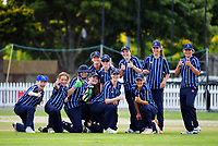St Hilda's Collegiate celebrate a wicket during the the New Zealand Secondary Schools 1st XI NZCT girls' cricket national finals at Fitzherbert Park in Palmerston North, New Zealand on Sunday, 3 December 2017. Photo: Dave Lintott / lintottphoto.co.nz