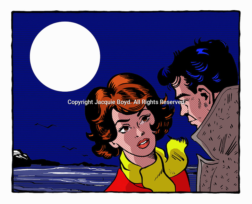 Pop art comic of couple by the sea at night ExclusiveImage Exclusiveimage