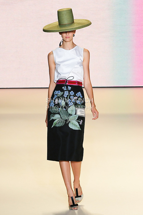 Model walks the runway in an outfit by Carolina Herrera for her Carolina Herrera Spring 2011 collection fashion show, during Mercedes-Benz fashion week Spring 2011.