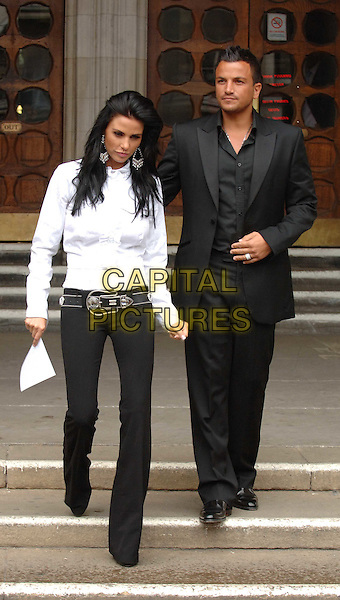 KATE PRICE (Jordan), PETER ANDRE.leaving the High Court after winning their libel case against The News of the World newspaper..London, England 3rd July 2008.full length.CAP/WIZ.©Wiz/Capital Pictures