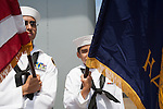 Teenage Navy Sea Cadets in the Color Guard for the final voyage of the battleship USS Iowa from Berth 51 to its new home at Berth 87 in San Pedro, Los Angeles, CA where it opens as a museum ship in July 2012.