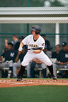 GCL Pirates second baseman Matt Morrow (55) squares around to bunt during the second game of a doubleheader against the GCL Yankees East on July 31, 2018 at Pirate City Complex in Bradenton, Florida.  GCL Pirates defeated GCL Yankees East 12-4.  (Mike Janes/Four Seam Images)