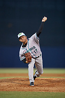 Daytona Tortugas relief pitcher Jesse Adams (17) delivers a pitch during a game against the Tampa Tarpons on April 18, 2018 at George M. Steinbrenner Field in Tampa, Florida.  Tampa defeated Daytona 12-0.  (Mike Janes/Four Seam Images)