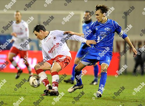 2011-02-05 / Voetbal / seizoen 2010-2011 / R. Antwerp FC - Tienen / Bart Van Zundert (L, Antwerp) met Sven Vandeput..Foto: mpics
