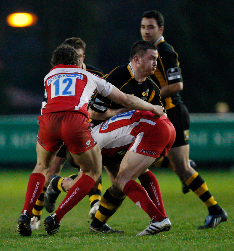 Photo:Richard Lane/Richard Lane Photography. London Wasps A v Gloucester United. Guinness A League. 09/04/2009. Wasps' Damien Varley attacks the Gloucester defence.