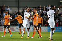 Gylfi Sigurdsson of Swansea City shakes hands with Barnet's Joe Payne at the final whistle during Barnet vs Swansea City, Friendly Match Football at the Hive Stadium on 12th July 2017