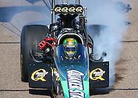 Feb 28, 2016; Chandler, AZ, USA; NHRA top fuel driver Leah Pritchett during the Carquest Nationals at Wild Horse Pass Motorsports Park. Mandatory Credit: Mark J. Rebilas-