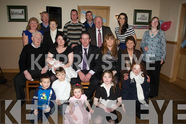 CHRISTENING: Niall O'Regan who was christened on Sunday in St Mary's Church, Ballyheigue and afterward to Kerins O'Rahillys GAA Club, to mark the ossacion with family and friends. Front l-r: Jack McEnvoy, Jerome Da;ly, Ciara O'Regan,Leanne O'Regan and Kathy Hughues. Seated l-r: Patrick O'Regan, Caitriona,Niall and Larry O'Regan, Marcella Daly and Mary O'Connor.Back l-r: Ellen O'Regan, Sean Harrington, Mary Ellen O'Regan, John O'Regan, DJ O'Connor, Jermiah O'Connor, Denise O'Connor and Mary O'Connor...................... ....