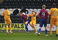 Graeme McGregor with the ball on his back in the St Mirren v Motherwell Clydesdale Bank Scottish Premier League U20 match played at St Mirren Park, Paisley on 10.9.12.