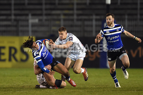 Max Ojomoh of Bath United is tackled to ground. Premiership Rugby Shield match, between Bath United and Gloucester United on April 8, 2019 at the Recreation Ground in Bath, England. Photo by: Patrick Khachfe / Onside Images