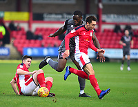 Lincoln City's John Akinde battles with  Crewe Alexandra's Eddie Nolan, left, and Harry Pickering<br /> <br /> Photographer Andrew Vaughan/CameraSport<br /> <br /> The EFL Sky Bet League Two - Crewe Alexandra v Lincoln City - Wednesday 26th December 2018 - Alexandra Stadium - Crewe<br /> <br /> World Copyright &copy; 2018 CameraSport. All rights reserved. 43 Linden Ave. Countesthorpe. Leicester. England. LE8 5PG - Tel: +44 (0) 116 277 4147 - admin@camerasport.com - www.camerasport.com