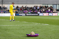A Sombrero hat lies on the pitch after Grimsby Town scored their first goal during the Sky Bet League 2 match between Barnet and Grimsby Town at The Hive, London, England on 29 April 2017. Photo by David Horn.