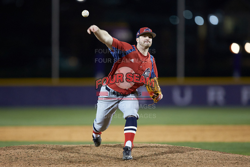 NJIT Highlanders relief pitcher Bryan Haberstroh (7) delivers a pitch to the plate against the High Point Panthers at Williard Stadium on February 18, 2017 in High Point, North Carolina. The Highlanders defeated the Panthers 4-2 in game two of a double-header. (Brian Westerholt/Four Seam Images)