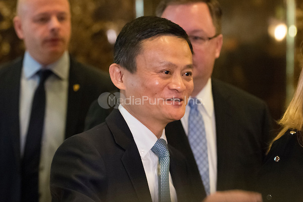 Following his meeting with President-elect Trump, Jack Ma, Founder and Executive Chairman of Alibaba, is seen is seen speaking with the press in the lobby of Trump Tower in New York, NY, USA on January, 9, 2017. <br /> Credit: Albin Lohr-Jones / Pool via CNP /MediaPunch