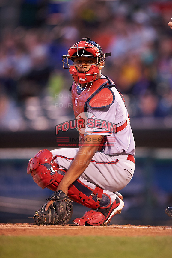 Syracuse Chiefs catcher Pedro Severino (4) looks to the dugout during a game against the Rochester Red Wings on July 1, 2016 at Frontier Field in Rochester, New York.  Rochester defeated Syracuse 5-3.  (Mike Janes/Four Seam Images)