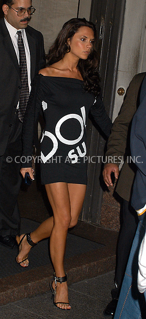 Heavily guarded Victoria Beckham and her husband footballer David went to a radio station in New York to talk about their collaboration on music and fashion projects with hip hop mogul Damon Dash. Posh Spice's bodyguards were under strict instructions to stop photographers getting shots of her dress. New York, May 28, 2003. Please byline: NY Photo Press.   ..*PAY-PER-USE*      ....NY Photo Press:  ..phone (646) 267-6913;   ..e-mail: info@nyphotopress.com