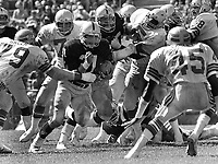 Oakland Raider Derrick Jensen against the Seattle Seahawks..(1981 photo/Ron Riesterer)