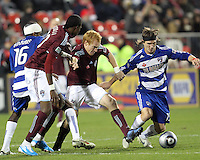 Bryan Loyd#19 of FC Dallas gets away from Jeff Larentowicz#4 of the Colorado Rapids during MLS Cup 2010 at BMO Stadium in Toronto, Ontario on November 21 2010. Colorado won 2-1 in overtime.