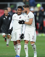 WASHINTON, DC - FEBRUARY 29: Washington, D.C. - February 29, 2020: Jonathan Lewis #7 of the Colorado Rapids celebrates the victory with teammate Keegan Rosenberry #2. The Colorado Rapids defeated D.C. United 2-1 during their Major League Soccer (MLS)  match at Audi Field during a game between Colorado Rapids and D.C. United at Audi FIeld on February 29, 2020 in Washinton, DC.