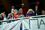 KRASNAYA POLYANA, RUSSIA  - JANUARY 17:<br /> Russian fans cheer during the men's two-man bobsled at Sanki Sliding Center during the 2014 Sochi Olympics Monday February 17, 2014. USA-1 with Steven Holcomb, of Park City, Utah, and Steve Langton, of Melrose, Mass., won the bronze medal with a time of 3:46.27.<br /> (Photo by Chris Detrick/The Salt Lake Tribune)