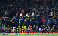 30th October 2019; Anfield, Liverpool, Merseyside, England; English Football League Cup, Carabao Cup, Liverpool versus Arsenal; the Arsenal players look on anxiously during the penalty shootout - Strictly Editorial Use Only. No use with unauthorized audio, video, data, fixture lists, club/league logos or 'live' services. Online in-match use limited to 120 images, no video emulation. No use in betting, games or single club/league/player publications