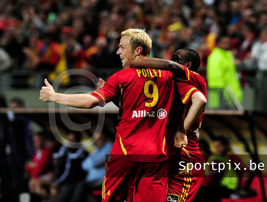 RC Lens : David Pollet scoort de 1-0 tegen Boulogne.foto DAVID CATRY / VDB