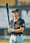 12 July 2015: West Virginia Black Bears infielder Kevin Newman, first round draft pick for the Pittsburgh Pirates organization, stands outside the dugout prior to a game against the Vermont Lake Monsters at Centennial Field in Burlington, Vermont. The Lake Monsters rallied to defeat the Black Bears 5-4 in NY Penn League action. Mandatory Credit: Ed Wolfstein Photo *** RAW Image File Available ****