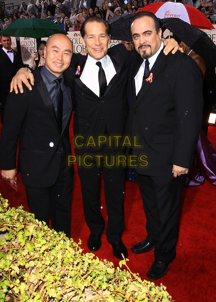 C.S. LEE, JAMES RMAR & DAVID ZAYAS.67th Golden Globe Awards held Beverly Hilton, Beverly Hills, California, USA..January 17th, 2010.globes full length black suit hands arms over shoulder.CAP/ADM/KB.©Kevan Brooks/Admedia/Capital Pictures