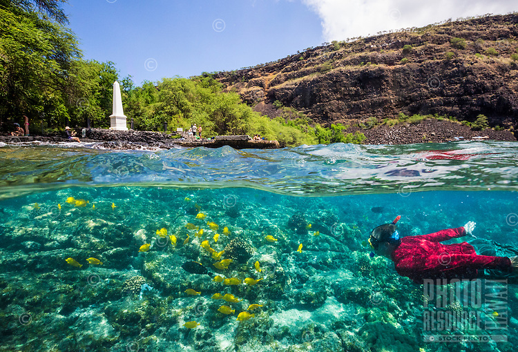 A snorkeler encounters tropical fish in the clear waters of Kealakekua Bay while visitors explore the distant shoreline surrounding the Captain Cook Monument, Big Island. (Note: the snorkeler is model released, the distant visitors are not.)