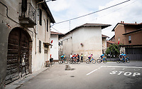 peloton led by Team Movistar in protection of the Maglia Rosa / overall leader Richard Carapaz (ECU/Movistar)<br /> <br /> Stage 15: Ivrea to Como (232km)<br /> 102nd Giro d'Italia 2019<br /> <br /> ©kramon