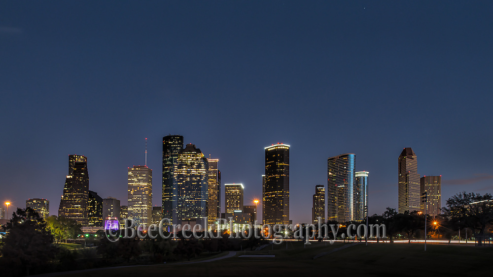 Houston skyline at night in downtown from the city park.