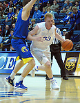 January 14, 2017:  Air Force center, Frank Toohey #33, drives the lane during the NCAA basketball game between the San Jose State Spartans and the Air Force Academy Falcons, Clune Arena, U.S. Air Force Academy, Colorado Springs, Colorado.  San Jose State defeats Air Force 89-85.