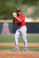 Los Angeles Angels of Anaheim pitcher Ranyelmy Alberto (41) during an Instructional League game against the San Francisco Giants on October 13, 2016 at the Tempe Diablo Stadium Complex in Tempe, Arizona.  (Mike Janes/Four Seam Images)