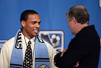 Scott Selay (Wake Forest U.) who was picked by the KC Wizards in the first round of the MLS SuperDraft talks with his new Coach Bob Gansler. Baltimore Convention Center, Baltimore, MD, Friday, January 14, 2005..