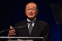 """Washington, DC - April 15, 2016: World Bank President Jim Yong Kim participates in the """"Forced Displacement: A Global Development Challenge"""" discussion at the World Bank Group MC building in the District of Columbia during the IMF/World Bank Spring Meetings, April 15, 2016.  (Photo by Don Baxter/Media Images International)"""