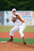 Asheboro Copperheads starting pitcher Josh Ruppel (29) in action against the Gastonia Grizzlies at McCrary Park on June 1, 2015 in Asheboro, North Carolina.  The Copperheads defeated the Grizzlies 11-6. (Brian Westerholt/Four Seam Images)