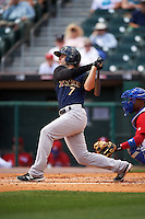 Scranton/Wilkes-Barre RailRiders third baseman Pete Kozma (7) at bat during a game against the Buffalo Bisons on July 2, 2016 at Coca-Cola Field in Buffalo, New York.  Scranton defeated Buffalo 5-1.  (Mike Janes/Four Seam Images)