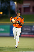 AZL Giants right fielder Jose Layer (76) jogs off the field between innings of the game against the AZL Athletics on August 5, 2017 at Scottsdale Stadium in Scottsdale, Arizona. AZL Athletics defeated the AZL Giants 2-1. (Zachary Lucy/Four Seam Images)